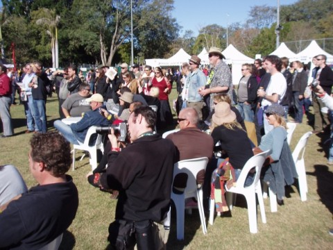 The crowd  in front of the 4ZZZ tent watching The Black Assassins play their song Death Take Me Now at Pig City , Brisbane July 2007